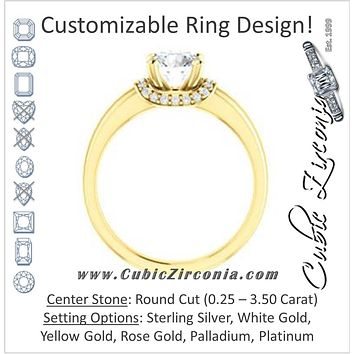 Cubic Zirconia Engagement Ring- The Jennifer Elena (Customizable Round Cut featuring Saddle-shaped Under Halo)