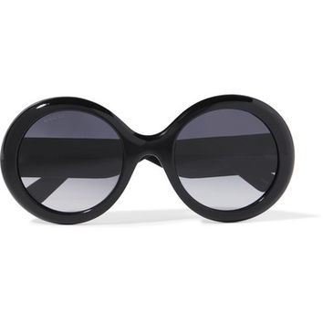 Gucci - Round-frame glittered acetate sunglasses