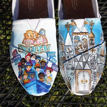 SALE Custom Painted Shoes Disneyland It's A Small World clock boat characters ride TOM