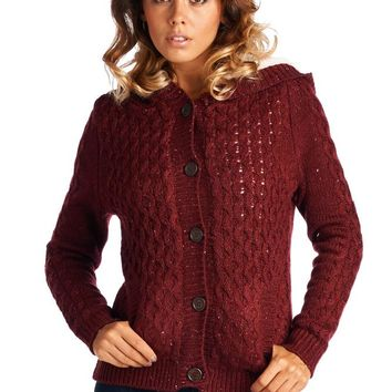 SW26155 Hooded Fur Lined Cable Knit Sweater