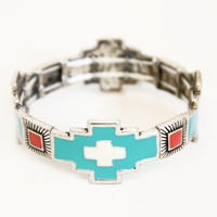 Aqua and Ivory Southwestern Stretch Bracelet