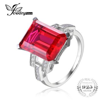Jewelrypalace Luxury Emerald Cut 9.2ct Created Red Ruby Cocktail Ring 925 Sterling Silver  2016 Brand New Fashion Jewelry