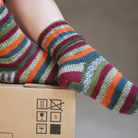 Adults orange green knit striped socks for man and woman - made to order