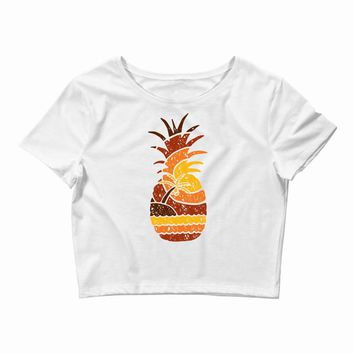 pineapple and beach Crop Top
