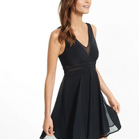 Black Sheer Inset Fit And Flare Dress from EXPRESS