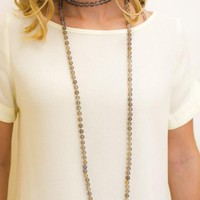 Long Smoky Gray Double Wrap Necklace