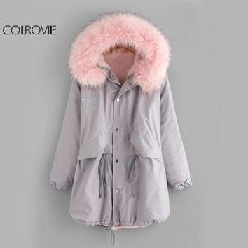 COLROVIE Fleece Inside Warm Hooded Winter Coat Women Faux Fur Trim Drawstring Parka Outerwear 2017 Grey Zip Up Thick Casual Coat