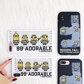 Lovely Minions Phone Case For iphone 6 6S Plus 7 7plus 8 8Plus Cover Cute Cartoon Soft TPU Funny Cases For iphone X Fundas Coque