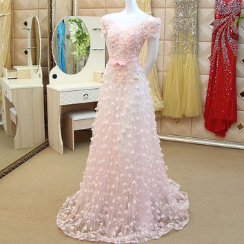 Bateau Off-shoulder Floor Length Women's Dress Evening Dress Prom Dress Party Dress