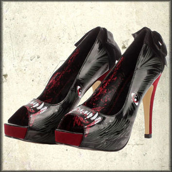 Rock Rebel Clothing - Iron Fist Wolfbeater Wolf Fangs Horror Anime Art Womens Platform Peep Toe Pumps Shoes in Red and Black