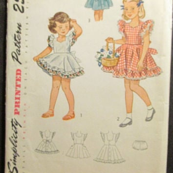 SALE Uncut 1940's Simplicity Sewing Pattern, 2914! Size 2 Toddler/Girls/Kids/Child/Full Flared Skirt Dress/Ruffle Sleeves/Short Summer Dress