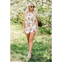 April Showers Floral Print Romper (Cream)