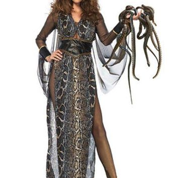 VONE5FW 3PC. Medusa,gold shimmer catsuit,snake print dress,head piece in MULTICOLOR