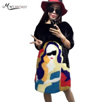 M.Y.FANSTY 2017 Winter Women's Three Quarter Sleeve Mink Coat Real Fur Coat Patchwork Print Pullove Loss Medium Mink Fur Coats