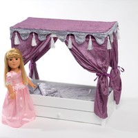 "For American Girl Doll Canopy Bed & Trundle Storage - 18"" Inch Dolls Furniture"