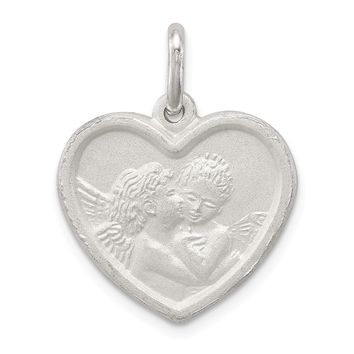 925 Sterling Silver Satin Angel Heart Charm and Pendant