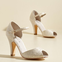 The Sole Works Peep Toe Heel in Ivory Lace | Mod Retro Vintage Heels | ModCloth.com