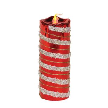 """8"""" Red and Gold Glitter Striped Flameless LED Christmas Pillar Candle"""