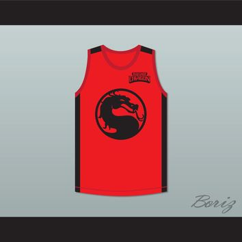Bruce Leroy Green 85 The Last Dragon Red Mortal Kombat Jersey with Embroidered Patch