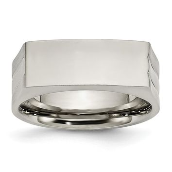 Rectangular Shape Ring in Stainless Steel - 8 Mm