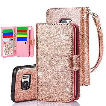 Galaxy S7 Case, PU Leather Case Cover With Detachable Magnetic Hard Case