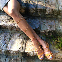GLADIATOR SANDALS - Leather Sandals - Greek Sandals - Roman Sandals - Knee High Sandals - 100%  Genuine Handmade in Light Brown color