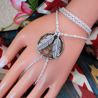Bronze Dream Catcher Slave Bracelet, hand Harness, Hand Chain, Body Jewelry, Body Chain, Infinity Ring, Finger Chain, Finger Bracelet