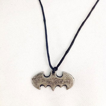 Batman necklace.batman necklace in silver.batman jewelry.necklace.Sterling Silver Batman Necklace.Batman necklace! Sterling silver chain