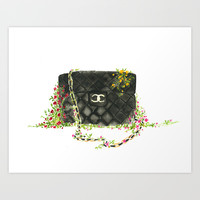 Bags in the wild - fashion illustration  Art Print by Koma Art