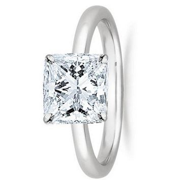 .1/2 - 2 Carat GIA Certified 18K White Gold Solitaire Princess Cut Diamond Engagement Ring (D-E Color, VS1-VS2 Clarity)