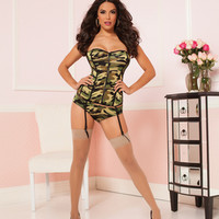 Camo Corset And Boyshort Set   Green  Medium