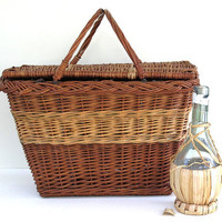 vintage picnic basket by KatyBitsandPieces on Etsy