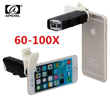 Hot Sale 60X to 100X Zoom LED Microscope Magnifier Micro Mobile Phone Lens Camera with Universal Clip For iPhone Samsung Huawei