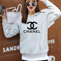 """Chanel"" Women Casual Knit Letter Logo Long Sleeve Hooded Sweater Tops Hoodie"