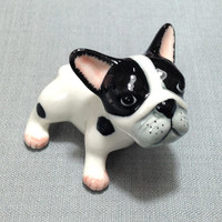 Miniature Ceramic Dog French Bulldog Puppy Pet Animal Cute Little Small Black White Statue Decoration Craft Collectible Hand Painted Figure