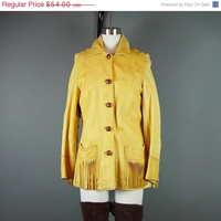 SALE 60s Western Leather Fringe Coat Jacket Vintage 1960s Cowgirl Yellow Chamois Soft Grunge Well Worn XS S
