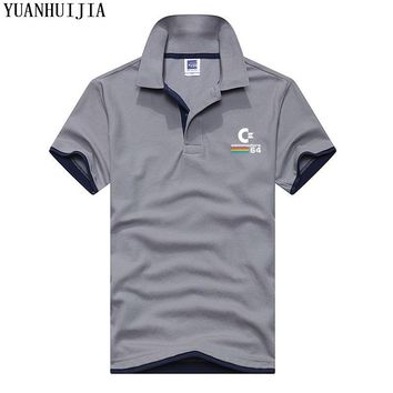New Commodore-64 logo solid polo men summer knit cotton stand collar camisa polo masculina Quick Dry Slim Fit ralp polos shirt