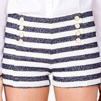 Striped Bouclé Shorts