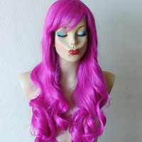 Summer Special // Lolita wig. Fuchsia color Long curly hairstyle high quality synthetic wig. Pink costume wig. Romantic pink color wig.