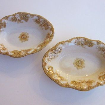 Upper Hanley Pottery Co Semi Porcelain Victoria England Oval Trays