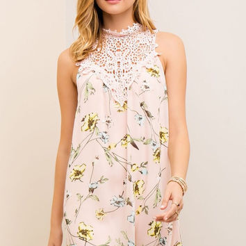 Blossoms and Lace Dress - Peach