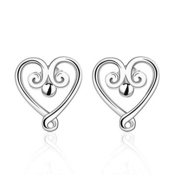 Silver Plated Curly Heart Earrings With Cubic Zirconia