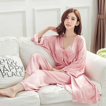 Fashion Home Clothes 3 Pieces Sexy Pyjamas Women Spring Summer Pajama Set High Quality Silk Pajamas For Women Pijamas Mujer E779