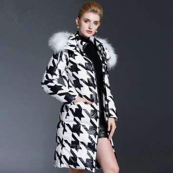 Coat Jacket Women European And American Fashion Long Print Zipper Hooded Wide-waisted Lightweight Houndstooth Coat Women 76035