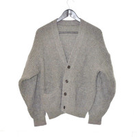 grey wool cardigan 80s vintage slouchy unisex button up grandpa sweater medium