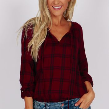 Cinched Waist Plaid Top Plum/Navy