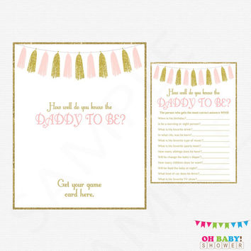 Pink and Gold Baby Shower Games, How well do you know the DADDY to be, Girl Baby Shower Printables, Instant Download, Glitter Tassels, TASPG
