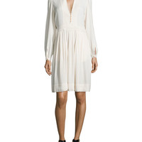 Isabel Marant Etoile Neil Long-Sleeve Crepe Dress, Ivory