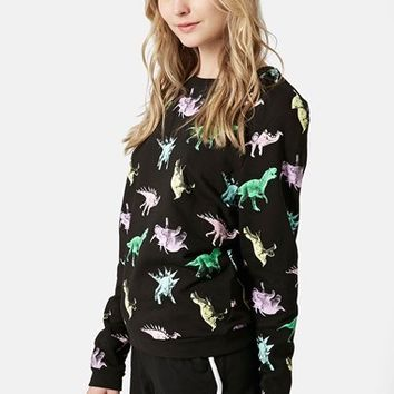 Women's Topshop Fleece Lined Dinosaur Sweatshirt,