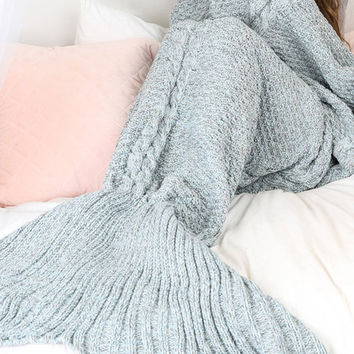 Best Gift Light Blue Mermaid Tail Blanket
